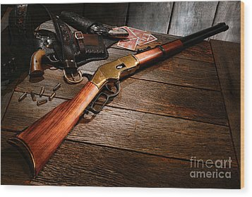 Waiting For The Gunfight Wood Print