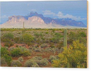 Wood Print featuring the photograph 16x20 Canvas - Superstition Mountain Light by Tam Ryan