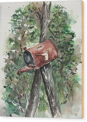 Waiting For The Mail Wood Print by Stephanie Sodel