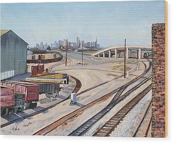 Wood Print featuring the painting Waiting For The Train by Asha Carolyn Young