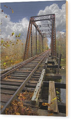 Waiting For The Train Wood Print by Debra and Dave Vanderlaan