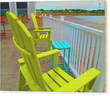 Waiting For Tide And Sunset Wood Print by Barbara McDevitt
