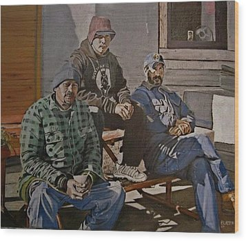 Waiting For Work Wood Print by Patricio Lazen