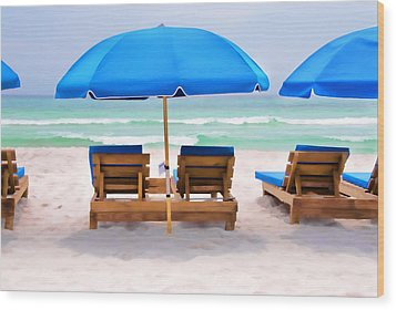 Panama City Beach Digital Painting Wood Print by Vizual Studio