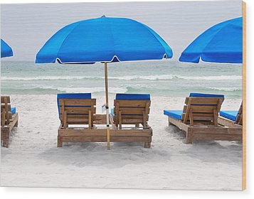 Panama City Beach Florida Empty Chairs Wood Print by Vizual Studio