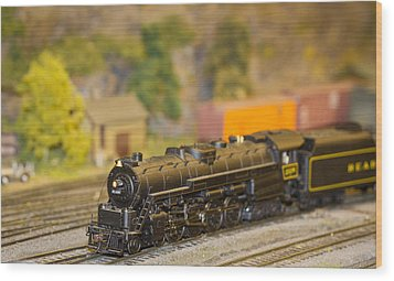 Waiting Model Train  Wood Print by Patrice Zinck