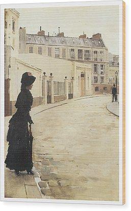 Waiting Paris Rue De Chanteaubriand Wood Print by Jean Beraud