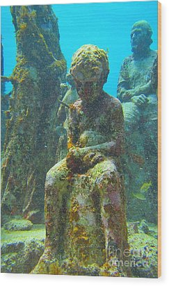 Waiting Patiently For The Coral To Grow Up Wood Print by Halifax photographer John Malone