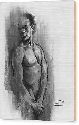 Wood Print featuring the drawing Waiting by Paul Davenport