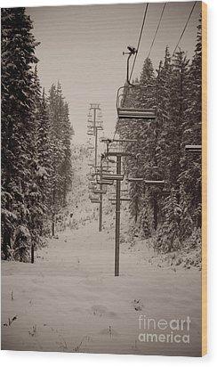 Waiting Ski Lifts Wood Print by Cari Gesch