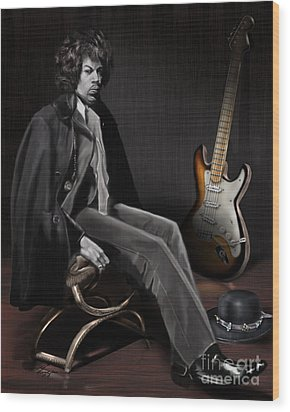 Waiting To Play - The  Jimi Hendrix Series Wood Print by Reggie Duffie