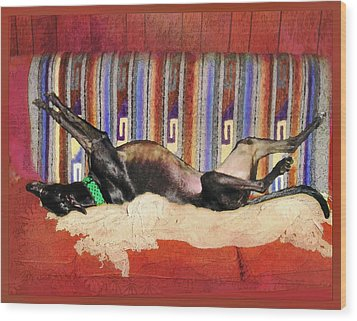 Wake Me When The Coffee's Ready Wood Print by Ginny Schmidt