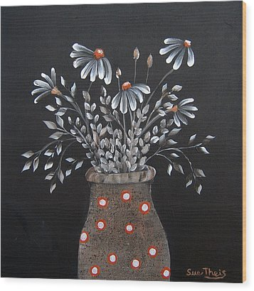 Wood Print featuring the painting Wake Up And See The Flowers by Suzanne Theis