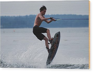 Wakeboarder Wood Print by DejaVu Designs