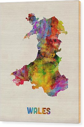 Wales Watercolor Map Wood Print by Michael Tompsett