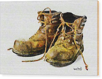 Wood Print featuring the painting Walk A Mile In My Shoes by Wayne Pascall