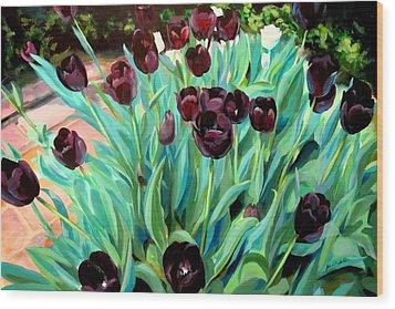 Walk Among The Tulips Wood Print