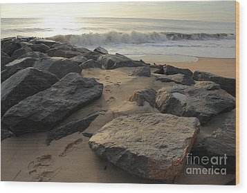 Walk By The Shore Wood Print by Everett Houser