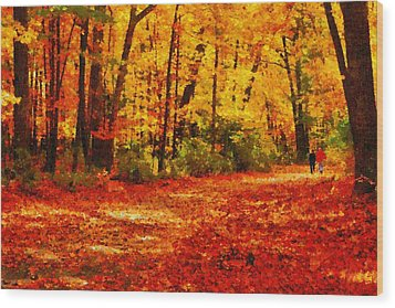 Walk In An Autumn Park Wood Print by Kai Saarto
