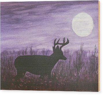 Walk In The Moonlight Wood Print by Dan Wagner