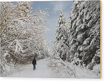 Walk In The Winterly Forest With Lots Of Snow Wood Print by Matthias Hauser