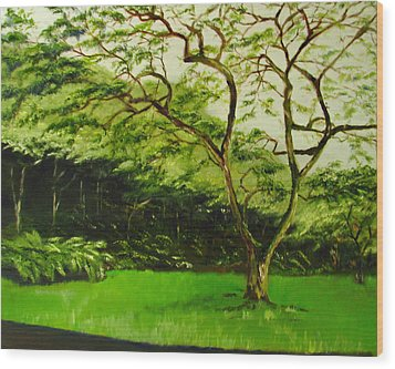 Walk In Waimea Valley Wood Print by Sherry Robinson