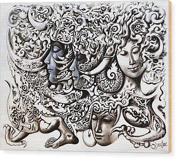 Walk Wood Print by Kritsana Tasingh