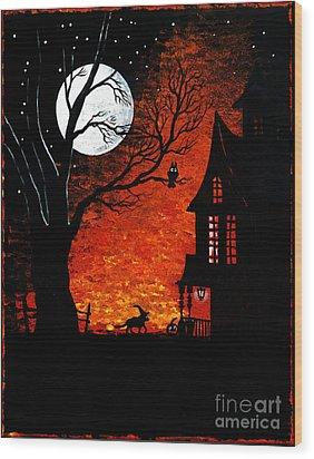 Walk Of The Catwitch Wood Print by Margaryta Yermolayeva