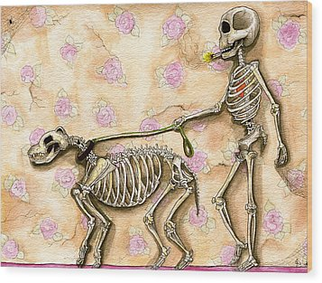 Walk The Dog Wood Print