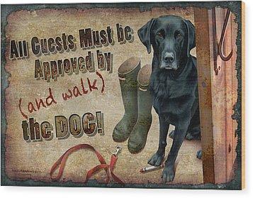 Walk The Dog Wood Print by JQ Licensing