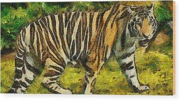 Walk The Tiger Wood Print by Georgi Dimitrov