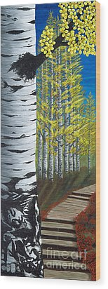 Walk Through Aspens Triptych 1 Wood Print by Rebecca Parker
