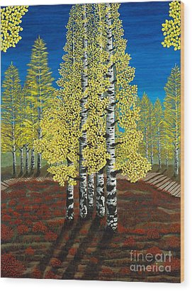 Walk Through Aspens Triptych 2 Wood Print by Rebecca Parker