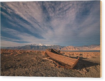 Wood Print featuring the photograph Walker Lake Fishing Boat by Janis Knight