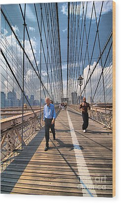 Walkers And Joggers On The Brooklyn Bridge Wood Print by Amy Cicconi