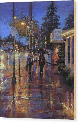 Walkin' In The Rain Wood Print by Dianna Ponting