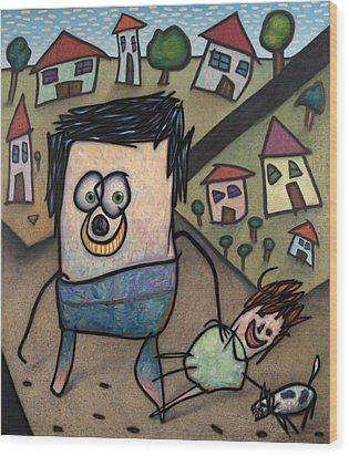 Walkin The Dog Wood Print by James W Johnson
