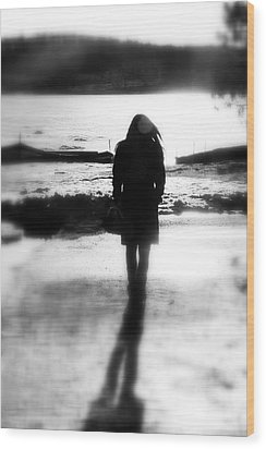 Walking Alone Wood Print by Valentino Visentini