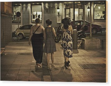Walking At Night - Madrid Spain Wood Print by Mary Machare