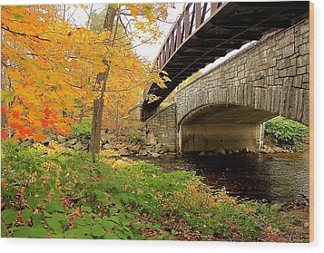 Wood Print featuring the photograph Walking Bridge In Fall by Amazing Jules