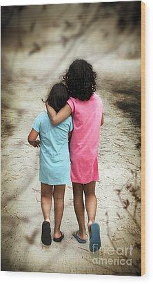 Walking Girls Wood Print by Carlos Caetano