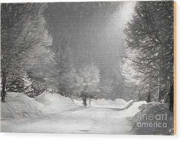 Winter Walk Wood Print by Les Palenik