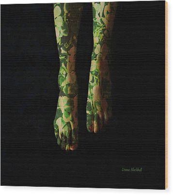 Walking In Clover Wood Print by Donna Blackhall