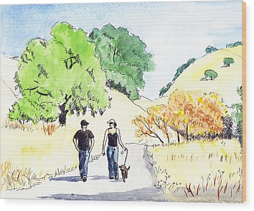 Walking In The Park Wood Print
