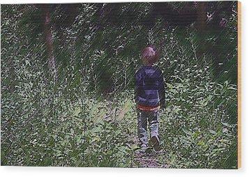 Boy Walking Into The Woods Wood Print