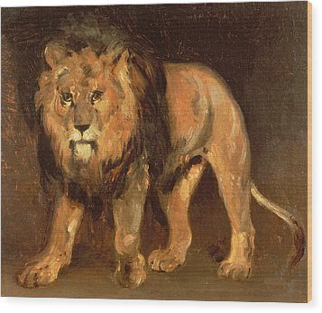 Walking Lion Wood Print by Theodore Gericault