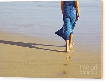 Walking On The Beach Wood Print by Carlos Caetano