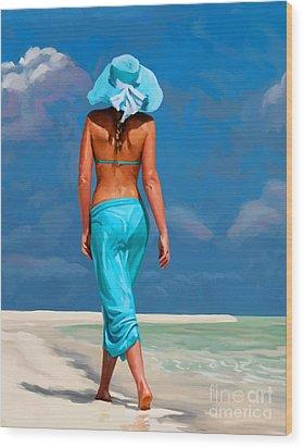 walking on the beach V Wood Print