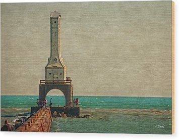 Walking On The Breakwater Wood Print by Mary Machare