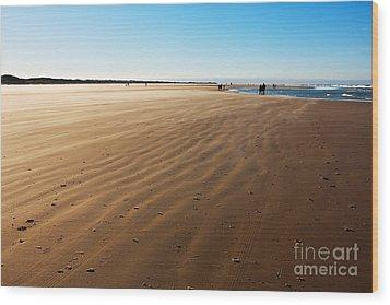 Walking On Windy Beach. Wood Print